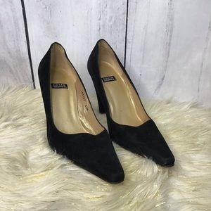 Costa Blanca black suede block heels